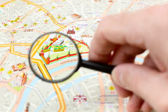 Moscow map detail - focus on Moscow Kremlin Royalty Free Stock Image