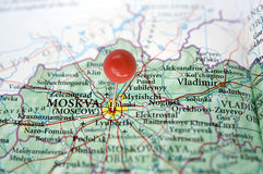 Moscow on a map Stock Photography