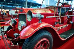 MOSCOW - MAR 09, 2018: American LaFrance 1925 fire truck at ex. Hibition Oldtimer-Gallery in Sokolniki Exhibition Center. It is only one in Russia exhibition of Royalty Free Stock Image