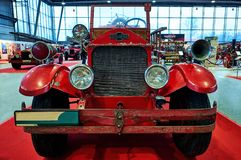 MOSCOW - MAR 09, 2018: American LaFrance 1925 fire truck at ex. Hibition Oldtimer-Gallery in Sokolniki Exhibition Center. It is only one in Russia exhibition of Stock Image