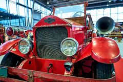 MOSCOW - MAR 09, 2018: American LaFrance 1925 fire truck at ex. Hibition Oldtimer-Gallery in Sokolniki Exhibition Center. It is only one in Russia exhibition of Stock Images