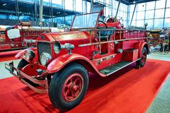MOSCOW - MAR 09, 2018: American LaFrance 1925 fire truck at ex. Hibition Oldtimer-Gallery in Sokolniki Exhibition Center. It is only one in Russia exhibition of Royalty Free Stock Photo