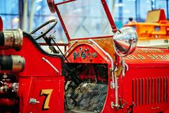 MOSCOW - MAR 09, 2018: American LaFrance 1925 fire truck at ex. Hibition Oldtimer-Gallery in Sokolniki Exhibition Center. It is only one in Russia exhibition of Stock Photo