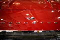 MOSCOW - MAR 09, 2018: Chevrolet Corvette C1 1961 at exhibitio royalty free stock image