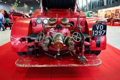 MOSCOW - MAR 09, 2018: Dennis 1929 fire truck at exhibition Ol royalty free stock image