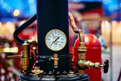 MOSCOW - MAR 09, 2018: English old steam fire pump at exhibition royalty free stock photography