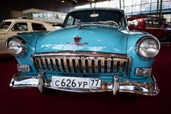 MOSCOW - MAR 09, 2018: GAZ-M21 Volga 1960 at exhibition Oldtim. Er-Gallery in Sokolniki Exhibition Center. It is only one in Russia exhibition of vintage cars Royalty Free Stock Photo