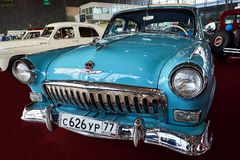 MOSCOW - MAR 09, 2018: GAZ-M21 Volga 1960 at exhibition Oldtim. Er-Gallery in Sokolniki Exhibition Center. It is only one in Russia exhibition of vintage cars Stock Image
