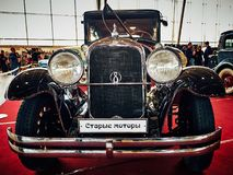 MOSCOW - MAR 09, 2018: Studebaker President 1928 at exhibition. Oldtimer-Gallery in Sokolniki Exhibition Center. It is only one in Russia exhibition of vintage Royalty Free Stock Images