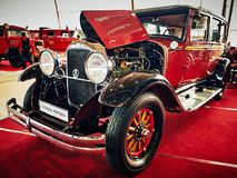MOSCOW - MAR 09, 2018: Studebaker President 1928 at exhibition. Oldtimer-Gallery in Sokolniki Exhibition Center. It is only one in Russia exhibition of vintage Royalty Free Stock Photo