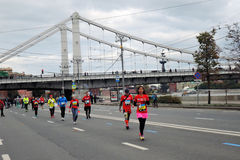 Moscow Marathon runners, Krymsky bridge view Royalty Free Stock Photo