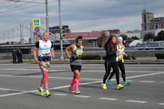 Moscow Marathon runners, man and women royalty free stock photos