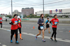 Moscow Marathon runners Stock Photos