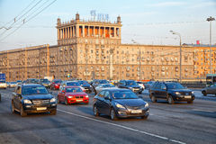 Moscow - march 20: Cars are driven on Kutuzov Avenue. Russia, Moscow, march 20, 2015 Royalty Free Stock Photo