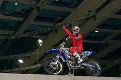 MOSCOW - MARCH 13: FMX rider, motofristayler Alexei Kolesnikov ( Royalty Free Stock Image