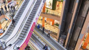 Moscow - March 21, 2019: People Moving on Escalator Walkway Shopping Mall. Man Customer Walking in Travolater in Urban Shop Center. Retail Market Travelator stock video