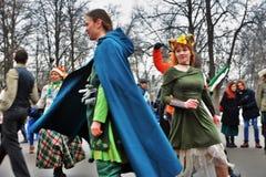 Saint Patrick`s Day celebration in Moscow. MOSCOW - MARCH 16, 2019: Saint Patrick`s Day celebration in Moscow. People dance Irish dances stock image