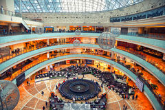 Moscow - march 9: Shopping center Afimall City. Room tower business center Moscow City. Russia, Moscow, march 9, 2015 Stock Photography