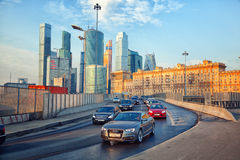 Moscow - march 20: Traffic jam at the entrance to Kutuzov Avenue. Russia, Moscow, march 20, 2015 Stock Image