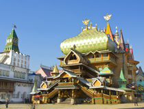 Moscow. MARCH 25, 2014: Wooden palace in Izmaylovskiy Kremlin in region Izmaylovo - architecture ensamble of original wooden buildings, cultural and Stock Images