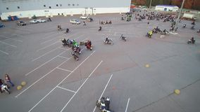 Gathering bikers aerial drone. Moscow Mart. The gathering of bikers, aerial with drone. Many people stock video footage