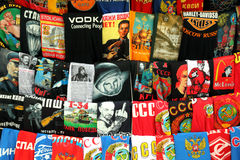 MOSCOW - MAY 15: shirts with russian prints Royalty Free Stock Photos