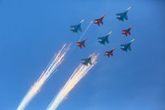 MOSCOW, 07 MAY, 2015: Aerobatic team Stock Images