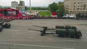 MOSCOW - MAY 09: Celebration of anniversary of the Victory Day WWII on May 9, 2017 in Moscow, Russia. Military equipment stock video footage