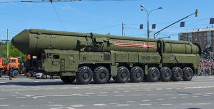 MOSCOW, MAY, 9, 2018: Great Victory holiday parade of Russian military vehicle: anti-aircraft weapon missile system RS-24 Yars. La. St generation of Russian stock photos