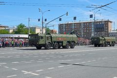 MOSCOW, MAY, 9, 2018: Great Victory holiday parade of Russian military vehicles air defence missile tank Iskander M 9K72. Tanks on. City streets and celebrating royalty free stock images
