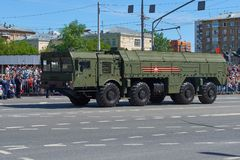 MOSCOW, MAY, 9, 2018: Great Victory holiday parade of Russian military vehicles air defence missile tank Iskander M 9K72. Tanks on. City streets and celebrating stock images