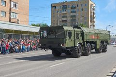 MOSCOW, MAY, 9, 2018: Great Victory holiday parade of Russian military vehicles air defence missile tank Iskander M 9K72. Tanks on. City streets and celebrating stock photos