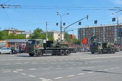 MOSCOW, MAY, 9, 2018: Great Victory holiday parade of Russian military vehicles. Radio control tank robot sapper Uran-6 for mines. Neutralization. Celebrating Stock Photos