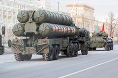 MOSCOW - MAY 4, 2015: Military vehicles on Leningradsky Prospekt Royalty Free Stock Image