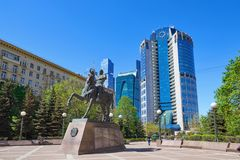 MOSCOW, MAY, 9, 2018: Monument with general Bagration P.I. statue: hero of 1812 war, in front of Bagration office business center, royalty free stock photos