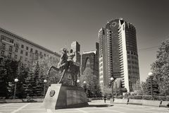 MOSCOW, MAY, 9, 2018: Monument with general Bagration P.I. statue: hero of 1812 war, in front of Bagration office business center, royalty free stock image