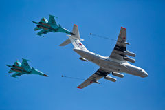 MOSCOW - MAY 7: Refueling aircraft and fighters participate Royalty Free Stock Photography