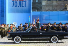 MOSCOW,07 MAY,2015: Russian defense Minister, Army General Serge. I Shoigu rides in a limo at the Red Square in Moscow during the final rehearsal of the military Royalty Free Stock Photography