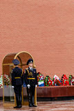MOSCOW MAY 14:  Sentry on guard in Kremlin on 14 May 2015 in Moscow Royalty Free Stock Photography