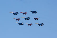MOSCOW - MAY 5, 2015: warplanes fulfill aerobatics ready for the. Parade in honor of Victory Day Stock Image