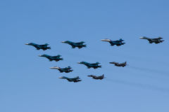 MOSCOW - MAY 5, 2015: warplanes fulfill aerobatics ready for the. Parade in honor of Victory Day Royalty Free Stock Images