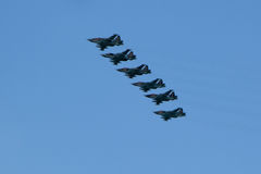 MOSCOW - MAY 5, 2015: warplanes fulfill aerobatics ready for the. Parade in honor of Victory Day Royalty Free Stock Image