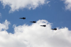 MOSCOW - MAY 5, 2015: warplanes fulfill aerobatics ready for the Royalty Free Stock Photography