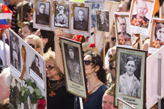 MOSCOW 9 May 2015 70 Years of Victory. Patriotic event in Moscow Immortal Regiment.People with portraits of their relatives who fought in the 1941-1945 passed Stock Photo