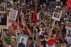 MOSCOW 9 May 2015 70 Years of Victory. Patriotic event in Moscow Immortal Regiment.People with portraits of their relatives who fought in the 1941-1945 passed Stock Photos