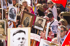 MOSCOW 9 May 2015 70 Years of Victory. Patriotic event in Moscow Immortal Regiment.People with portraits of their relatives who fought in the 1941-1945 passed Royalty Free Stock Photography
