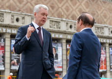 Moscow Mayor S. Sobyanin on the Triumph Square, Moscow Royalty Free Stock Photography