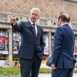 Moscow Mayor S. Sobyanin on the Triumph Square, Moscow Stock Photography