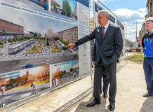 Moscow Mayor S. Sobyanin visits the Triumph Square during its re Royalty Free Stock Images