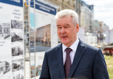 Moscow Mayor S. Sobyanin visits the Triumph Square Stock Photo